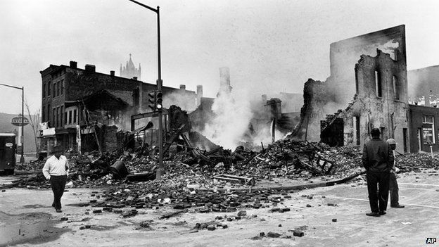 Aftermath of riots on 7th St NW, Washington DC, 1968